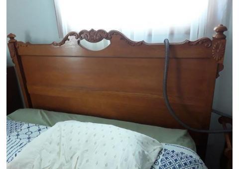 Queen bed with oak headboard