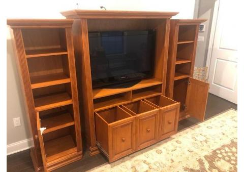 Entertainment Center Wall Unit - Cherry Stained